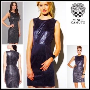 VINCE CAMUTO FAUX LEATHER SHEATH BODYCON DRESS